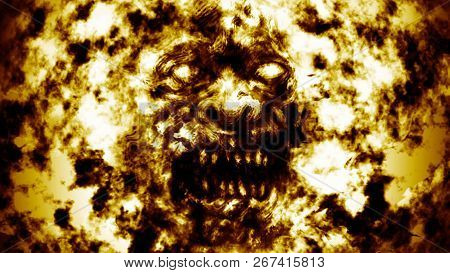 Angry Burning Ghoul Face. Illustration In Genre Of Horror.