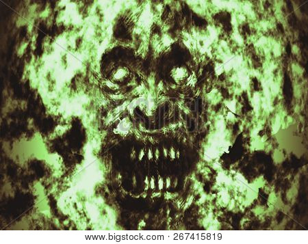Angry Burning Ghoul Face Illustration. Genre Of Horror. Green Background Color.