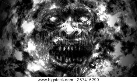 Angry Ghoul Face. Illustration In Genre Of Horror. Black And White