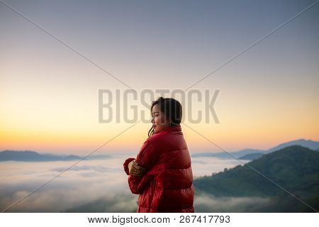 The Idea To Love Yourself More Than Love Others, Hiker Girl Wrapping In Warm Blanket Outdoor. Hiking