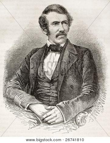David Livingston old engraved portrait. Created by Fath, Pannemaker and Ligny, published on Le Tour du Monde, Paris, 1860 poster