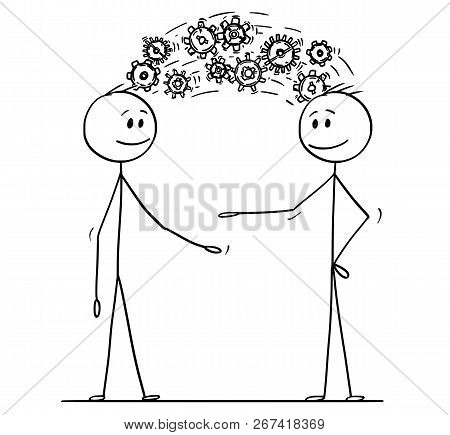 Cartoon Stick Drawing Conceptual Illustration Of Two Men Or Businessmen Sharing Knowledge Displayed