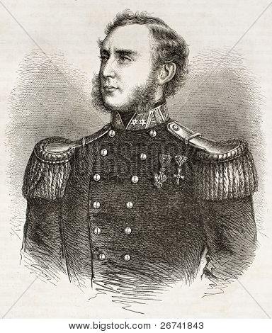 Bernhard von Wullerstorf-Urbair old engraved portrait. Created by Fath and Trichon, published on Le Tour du Monde, Paris, 1860 poster