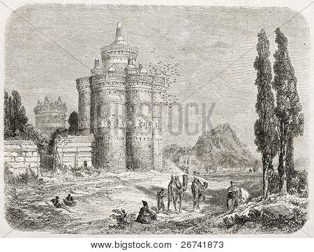 Dovecote old illustration, Isfahan surroundings, Iran. Created by Laurens, published on Le Tour du Monde, Paris, 1860