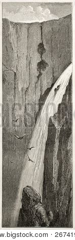 Voringfossen waterfalls old illustration, Norway. Created by Dore after Riant, published on Le Tour du Monde, Paris, 1860