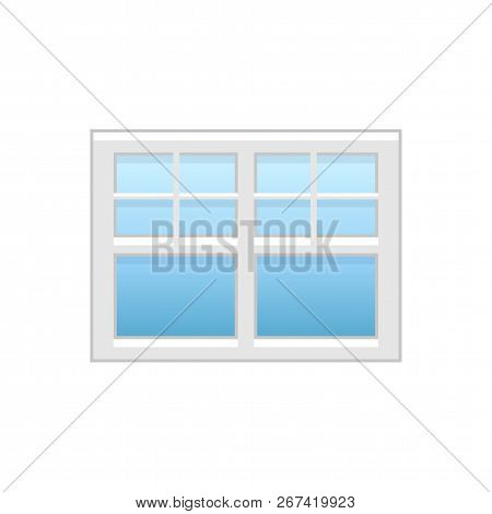 Vector Illustration Of Vinyl Casement Or Sash Window. Flat Icon Of Traditional Aluminum Window With