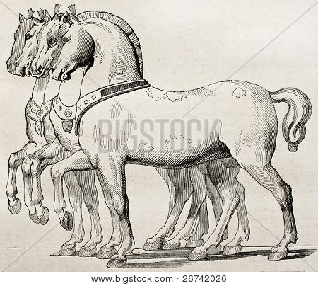 St. Mark Basilica horses old illustration, Venice. By unidentified author, published on Magasin Pittoresque, Paris, 1840