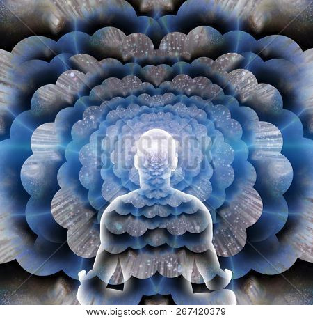 Man in lotus position meditates before endless spaces. 3D rendering