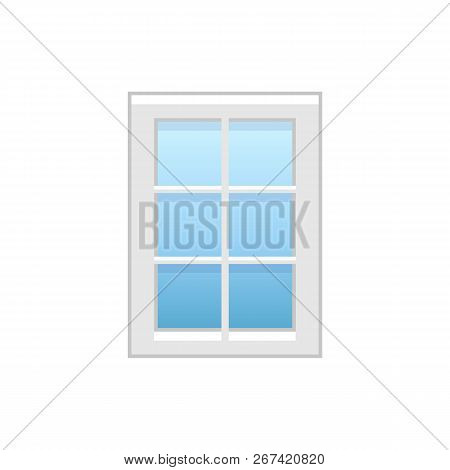 Vector Illustration Of Vinyl French Casement Window. Flat Icon Of Vintage Window With Decorative Mun
