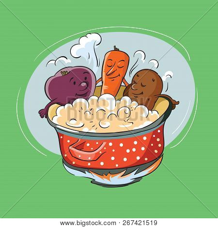 Vegetables Are Cooked In A Saucepan On Green Background