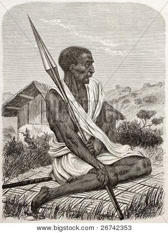 Ugandan man old engraved portrait. Created by Boulanger after Burton, published on Le Tour du Monde, Paris, 1860