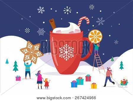 Merry Christmas, Winter Scene With A Big Cocoa Mug And Small People, Young Men And Women, Families H