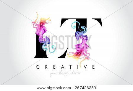 Lt Vibrant Creative Leter Logo Design With Colorful Smoke Ink Flowing Vector Illustration.