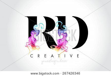 Rd Vibrant Creative Leter Logo Design With Colorful Smoke Ink Flowing Vector Illustration.