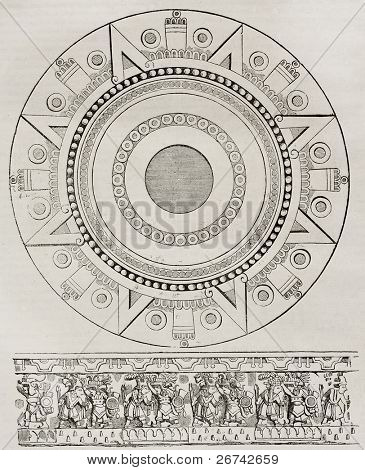 Mexican sacrifice stone and bas-relief, old illustration. By unidentified author, published on Magasin Pittoresque, Paris, 1840.