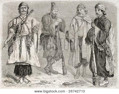 Persian men old illustration. Created by Laurens, published on Le Tour du Monde, Paris, 1860