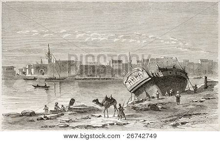 Suez port old view. Created by Girardet after Lejean, published on Le Tour du Monde, Paris, 1860