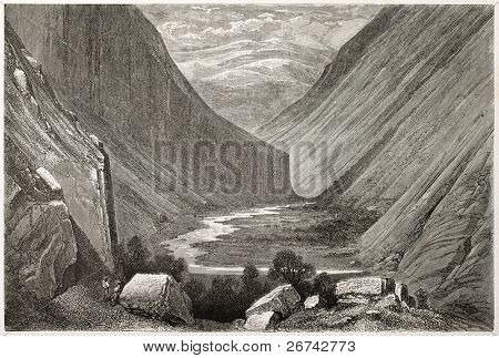 Heimdal valley old view, Norway. Created by Dore after Riant, published on Le Tour du Monde, Paris, 1860