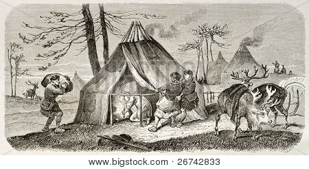 Tungusic encampment old illustration. Created by Adam after Sarytchew, published on Le Tour du Monde, Paris, 1860