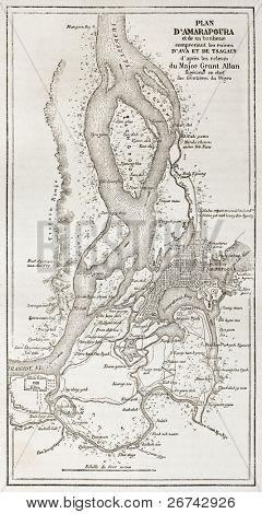 Amarapura old plan, Burma. Created by Grant and Erhard, published on Le Tour du Monde, Paris, 1860
