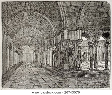 Saint-Trophime cloister old illustration, Arles, France. By unidentified author, published on Magasin Pittoresque, Paris, 1840