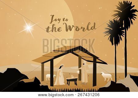 Christmas Time. Nativity Scene With Mary, Joseph And Baby Jesus. Text : Joy To The World