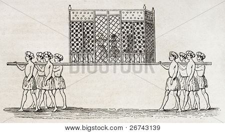 Tukht-e-Rowan, old Islamic usage: dancers and musicians in a itinerant pavilion. By unidentified author, published on Magasin Pittoresque, Paris, 1840