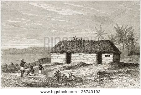 African home old illustration, near Lake Tanganyika. Created by Lavieille after Burton, published on Le Tour du Monde, Paris, 1860.