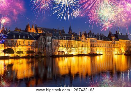 Binnenhof - Dutch Parliament With Old Town Of The Hague With Fireworks, Holland