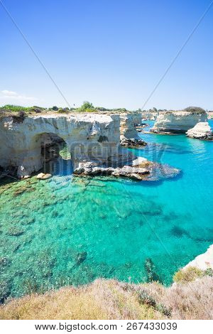 Sant Andrea, Apulia, Italy - One Of The Cave Archs Around The Cliffs Of Sant Andrea
