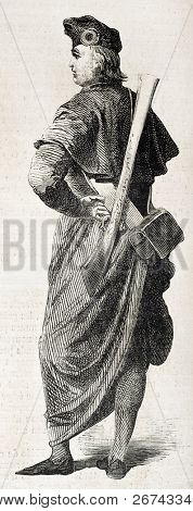 Ecclesiastical volunteer soldier old illustration, fighting il Palermo, Sicily. Created by Worms, published on L'Illustration, Journal Universel, Paris, 1860