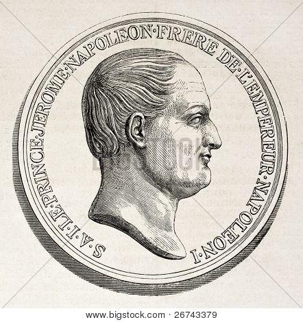 Jerome Bonaparte medal, old illustration. Created by Godefroy-Durand after Barre, published on L'Illustration, Journal Universel, Paris, 1860
