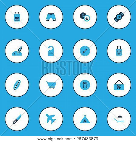 Tourism Icons Colored Set With Cart, Compass, Wristwatch And Other Sunbed Elements. Isolated Vector