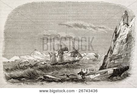 Discovery of Louis-Philippe lands and Joinville island (Antarctica) by Astrolabe and Zelee corvettes. Created by Lebreton, published on Magasin pittoresque, Paris, 1842