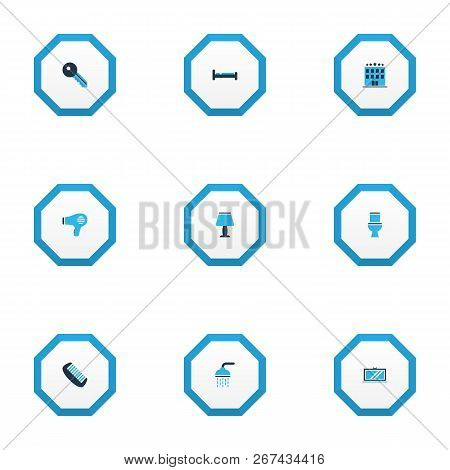 Tourism Icons Colored Set With Bathroom, Hotel, Lamp And Other Television Elements. Isolated Vector
