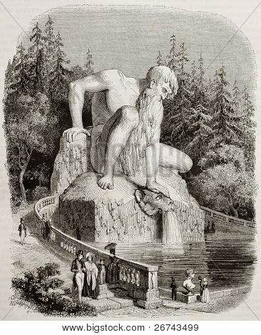 Appennin Colossus old illustration, Villa Demidoff, Pratolino, Italy. By unidentified author, published on Magasin Pittoresque, Paris, 1842