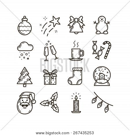 set of black and white line art icons on the theme of christmas and new year