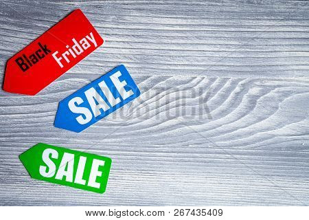 Concept Of Sale On Wooden Background Top View