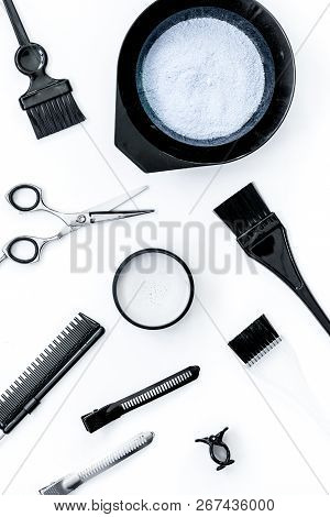 Tools For Hair Dye And Hairdye Top View White Background