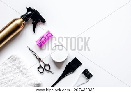 Hairdresser Working Desk Preparation For Cutting Hair Top View