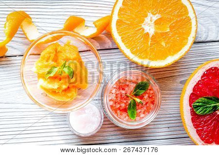 Organic Cosmetic With Citrus On Wooden Background Top View