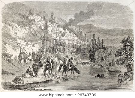 Bedouins, Druzes and Mutualis attacking Zahle, Lebanon. Created by Laurens after Rogier, published on L'Illustration, Journal Universel, Paris, 1860