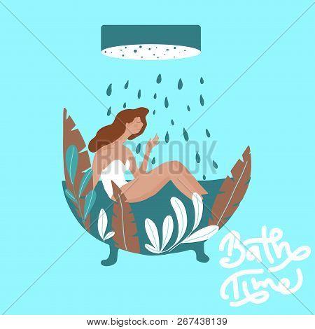 Vector Illustration Pretty Girl Enjoying A Bath In A Fashion Style Bath Tub