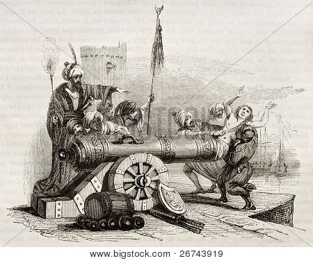 French consul in Algiers (vicar Apostolic Jean Le Vacher) inserted in a cannon and shot as reprisal for Algiers bombing by French fleet. By unknown author, publ. on Magasin Pittoresque, Paris, 1842