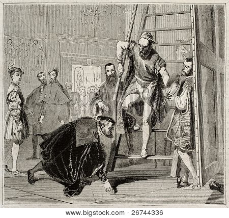 Charles V picking up Titian brush, old illustration. Created by Fleury, published on Magasin Pittoresque, Paris, 18434