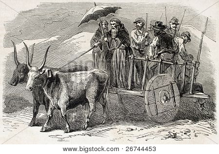Monks transporting volunteers going to Calabria from Sicily. Created by Gaildrau, published on L'Illustration, Journal Universel, Paris, 1860