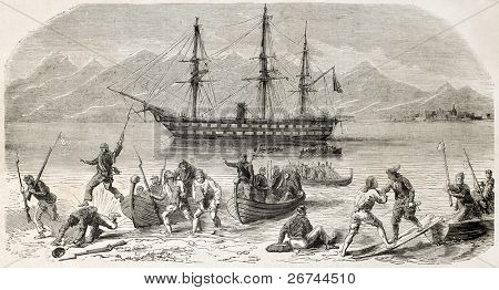 Volunteers landing in Calabria, southern Italy. Created by Worms, published on L'Illustration, Journal Universel, Paris, 1860