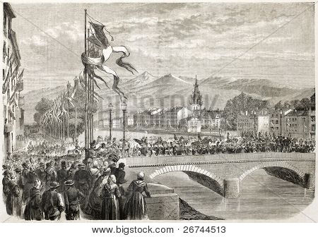 Napoleon III and Empress Eugenie entrance in Grenoble, France. Created by Provost after Marc and Bonnet,  published on L'Illustration, Journal Universel, Paris, 1860