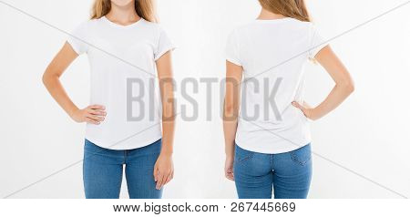 Front And Back Views Of Young Caucasian Girl Woman In Stylish T-shirt On White Background. Mock Up F