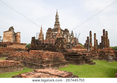 Sukhothai, Thailand Buddha statues at Wat Mahathat ancient capital of Sukhothai, Thailand Sukhothai Historical Park is the UNESCO world heritage poster
